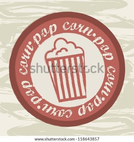 pop corn seal over grunge background. vector illustration - stock vector