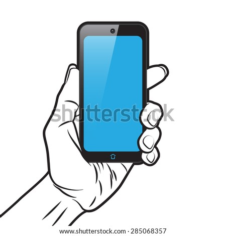 PopArt Style Mockup with Smartphone in Hand - stock vector