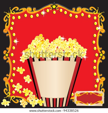 Popcorn and a Movie Birthday Party Invitation. A bright red marquee billboard and a huge striped tub of popcorn welcomes you to a birthday party. - stock vector