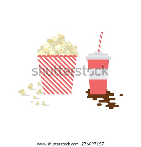Popcorn and soda - stock vector