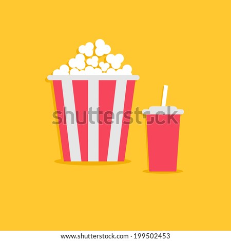 Popcorn and soda with straw. Cinema icon in flat dsign style. Vector illustration - stock vector