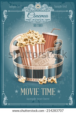 Popcorn bowl, disposable cup for drinks with straw, film strip and ticket. Cinema attributes. Detailed vector illustration.  - stock vector