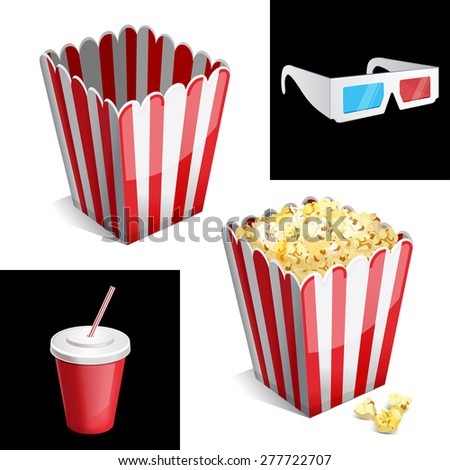 popcorn box, cola and 3D glasses icon 10eps - stock vector