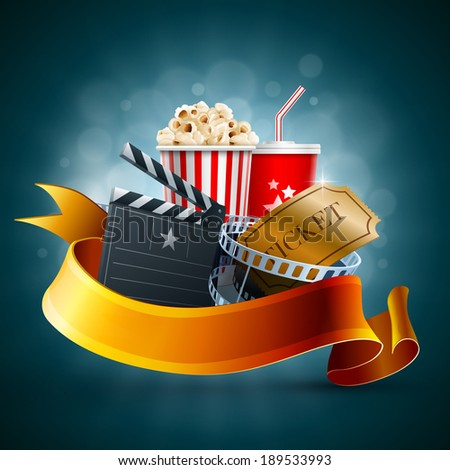 Popcorn box, disposable cup for beverages with straw, film strip and ticket. Detailed vector illustration. EPS10 file. - stock vector