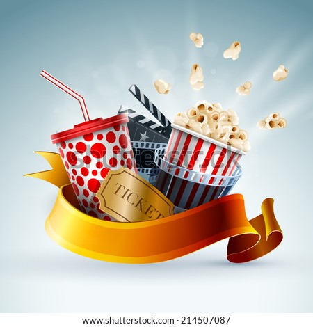Popcorn box; disposable cup for beverages with straw, film strip, clapper board and ticket. Cinema Poster Design Template. Detailed vector illustration. EPS10 file. - stock vector