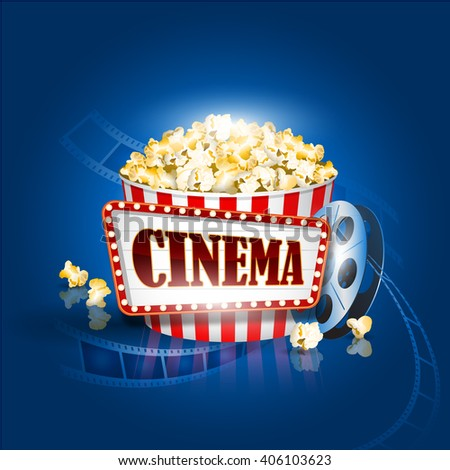 Popcorn box, film strip, Cinema background Detailed vector illustration. EPS10 file. - stock vector