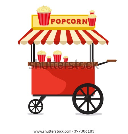 Popcorn cart carnival store and fun festival popcorn cart. Popcorn cartoon cart delicious tasty retro car. Candy corn container seller cart. Popcorn cart snack food market flat vector illustration.  - stock vector