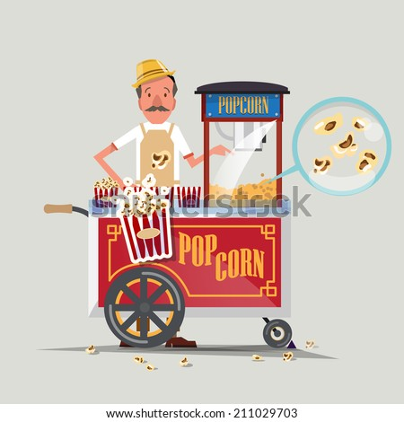 popcorn cart with seller - vector illustration - stock vector