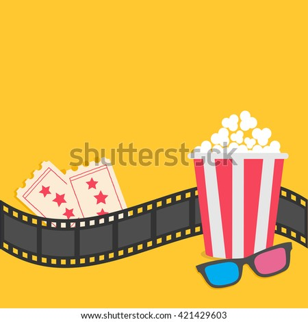 Popcorn. Film strip border. 3D glasses. Tickets. Red striped box. Cinema movie night icon in flat design style. Yellow background. Vector illustration - stock vector
