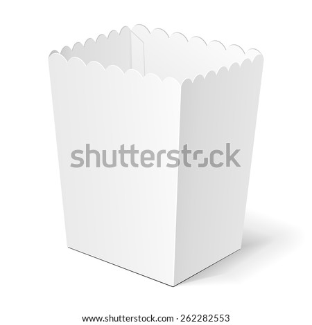 Popcorn, Fries Chiken Legs, Chinese Fast Food Box With Shadow. On White Background Isolated. Mock Up Template Ready For Your Design. Product Packing Vector EPS10 - stock vector