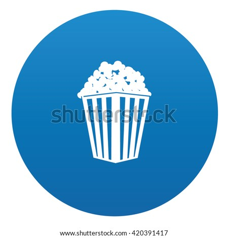 Popcorn icon design on blue background,vector - stock vector