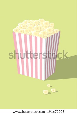 Popcorn in a pink and white striped box - stock vector