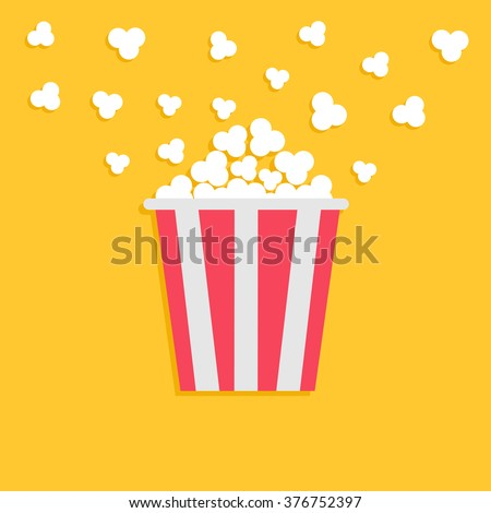 Popcorn popping. Red yellow strip box. Cinema movie night icon in flat design style. Vector illustration - stock vector