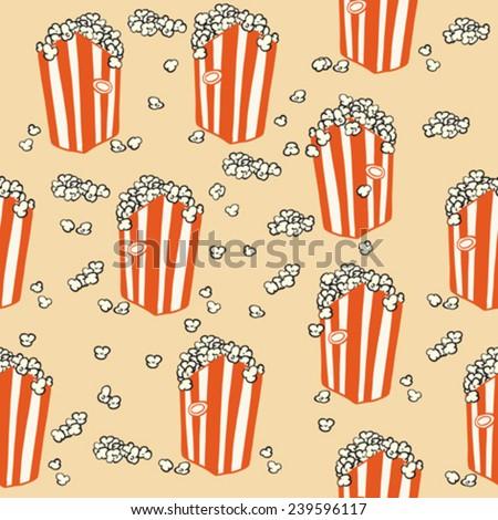 popcorn seamless pattern cartoon illustration - stock vector
