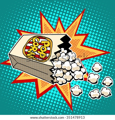 Popcorn sweet and savory corn pop art retro style. Fast food in the cinema. Healthy and unhealthy foods. Childhood and entertainment - stock vector