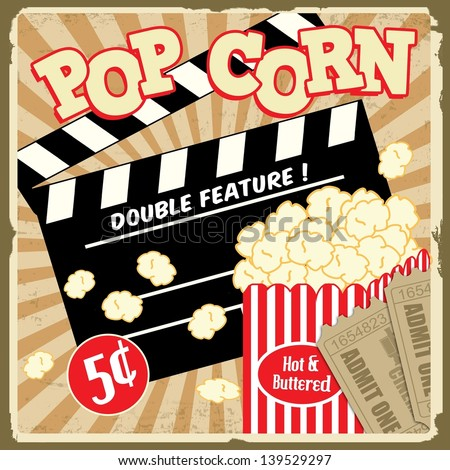 Popcorn with clapper board and movie tickets on vintage grunge poster, vector illustration - stock vector