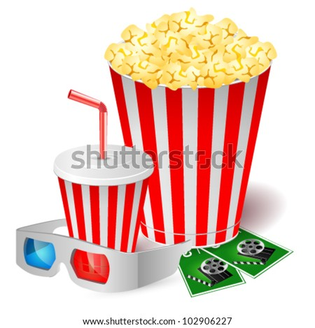 Popcorn with 3d glasses. Vector illustration - stock vector