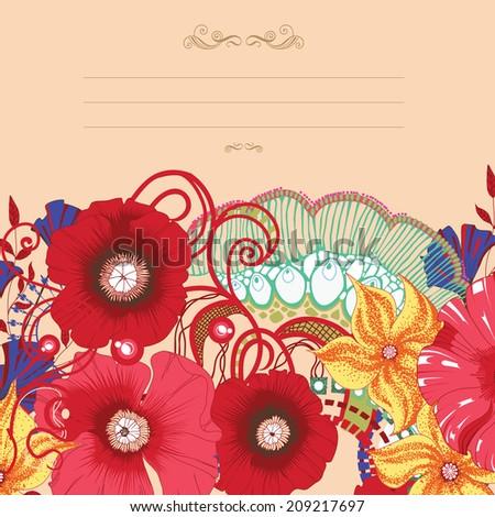 Poppy flower card, invitation design . Eps 10. - stock vector