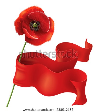 Poppy flower with red ribbon on white. Remembrance Day background. - stock vector