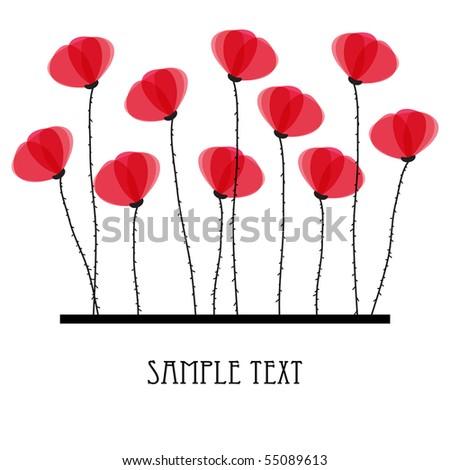 Poppy flowers. Design for greeting card - stock vector