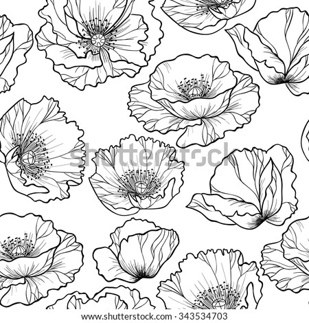 Poppy flowers  on a white background vector seamless pattern - stock vector