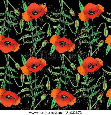 Poppy flowers pattern - stock vector