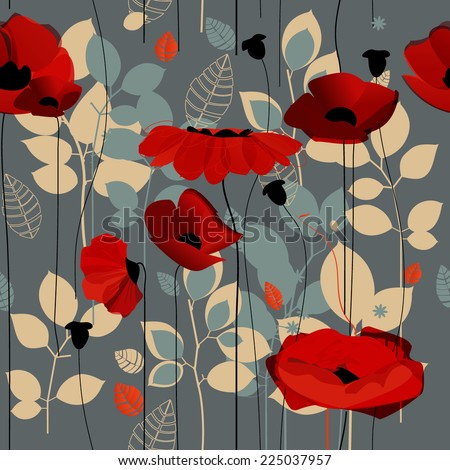 Poppy flowers seamless pattern over grey - stock vector
