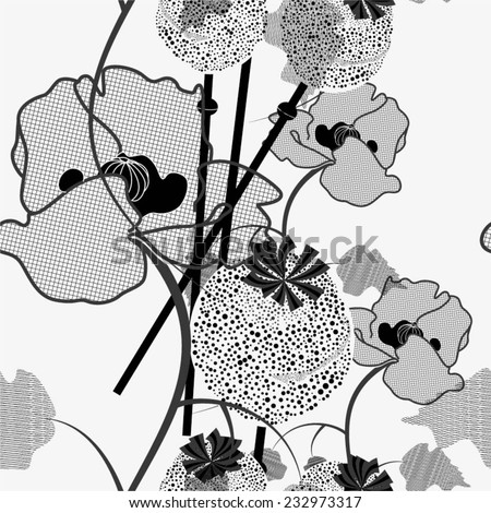 Poppy in the pattern. Wildflowers, black and white background. Seamless. - stock vector