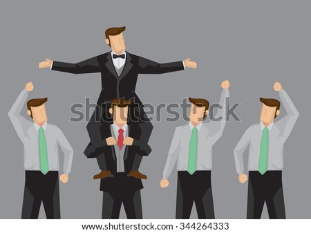 Popular cartoon man being carried on the shoulders of another person and enjoying the cheer of his followers. Vector illustration on popularity at work concept isolated on grey background. - stock vector