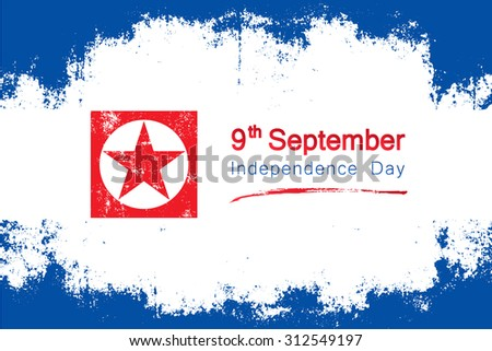 Popular grunge style vector for North Korea's independence day on september 9  with the colors and red star symbol of the country's flag. - stock vector