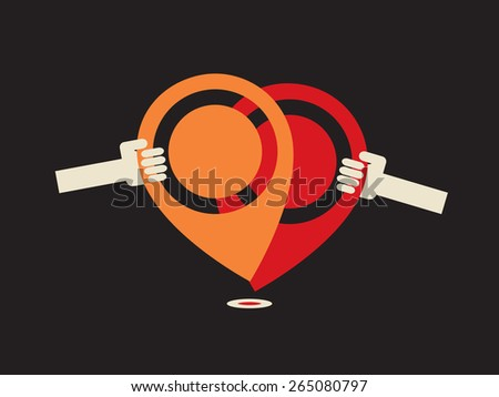 popular location -  most loved point of interest  - stock vector