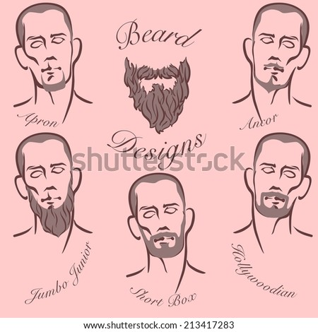 Popular styles of beard and mustache grooming. EPS8 vector set. - stock vector
