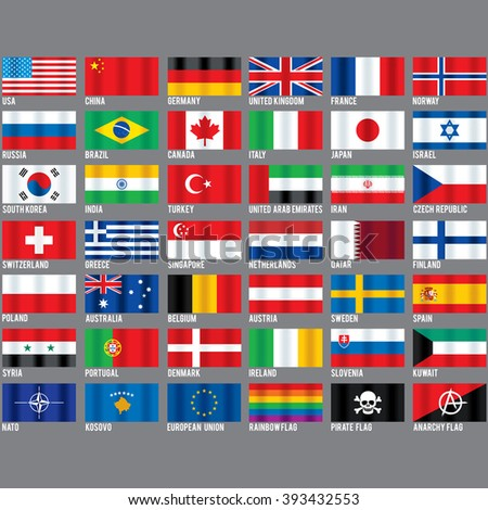 Popular World Flags. Set include Kosovo, Nato, Pirate, Gay Pride and Anarchy Symbols. Vector Icons Ready for Your Design. - stock vector