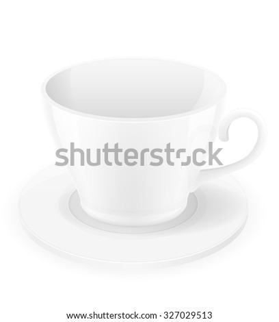 porcelain cup and saucer vector illustration isolated on white background - stock vector