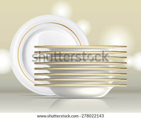 Porcelain plates on a white background set 1 - stock vector