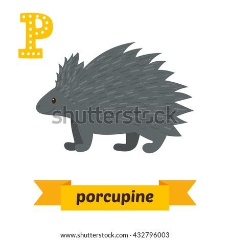 Porcupine. P letter. Cute children animal alphabet in vector. Funny cartoon animals. Vector illustration - stock vector