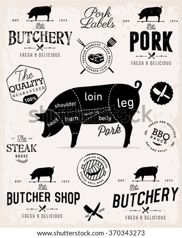 Pork Cuts Diagram and Butchery Design Elements in Vintage Style - stock vector