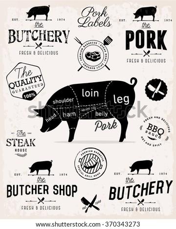 Pork Cuts Diagram and Butchery Illustrations - stock vector