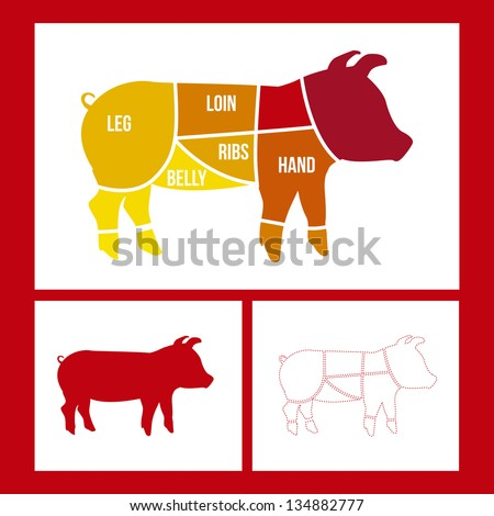 pork cuts over red background. vector illustration - stock vector
