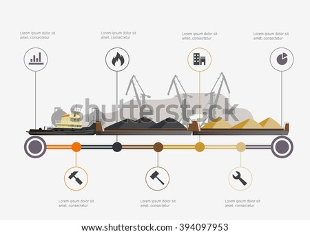 Port and tugboat with barge infographic time line. Industry and train transportation concept. Vector illustration - stock vector