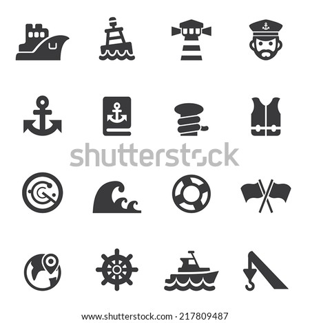 Port Silhouette icons - stock vector
