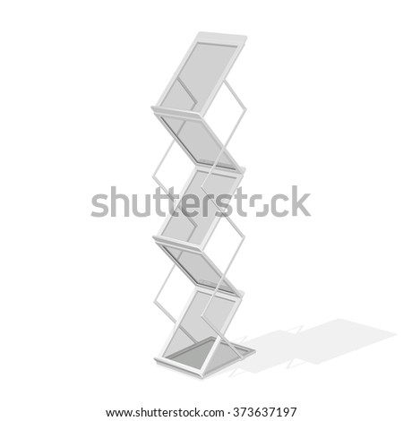 Portable folding advertising stand with shelves for printed materials, magazine, or newspaper, in gray color, isolated on white background. - stock vector