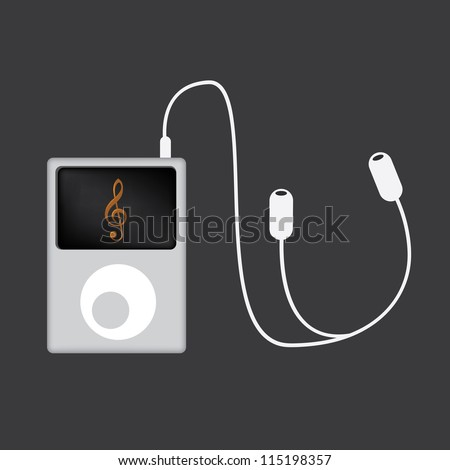 Portable mp3 player with phones - illustration - stock vector