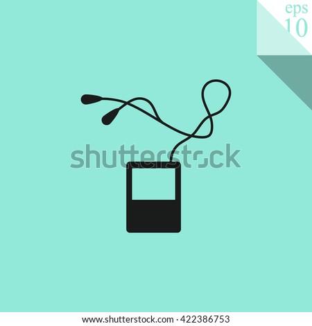 Portable music device Icon. Portable music device Icon Vector. Portable music device Icon Sign. Portable music device Icon Picture. Portable music device Icon Image. - stock vector