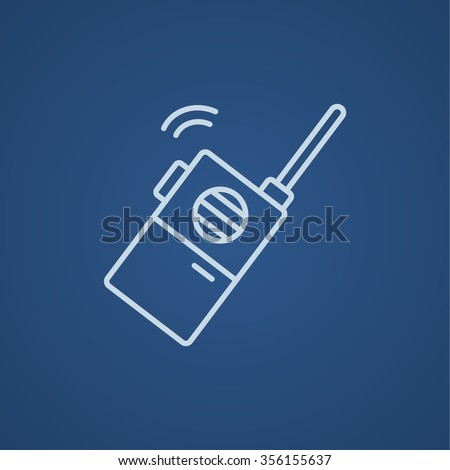 Portable radio set line icon for web, mobile and infographics. Vector light blue icon isolated on blue background. - stock vector
