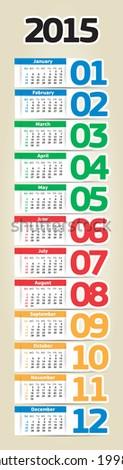 portable 2015 year vector calendar - stock vector