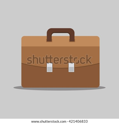 Portfolio vector illustration, business concept, business flat style icon, isolated on a colored background, male brown briefcase, fully editable vector image - stock vector