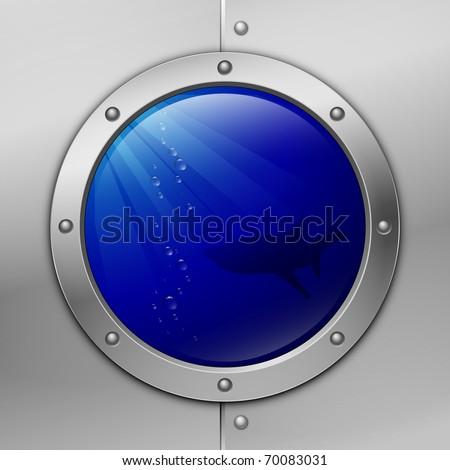 porthole. shark. vector illustration. eps10 - stock vector