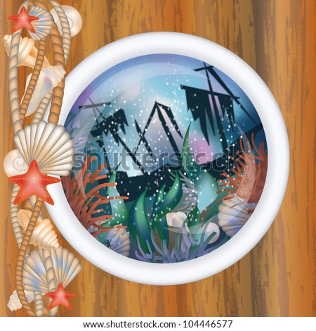 Porthole window with sunk ship, vector illustration - stock vector