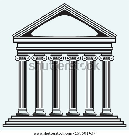 Portico an ancient temple. Bank. Colonnade isolated on blue background - stock vector